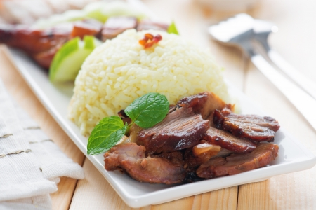 cha: Charsiu Pork  Chinese-flavored Barbecued Pork Rice. Popular Cantonese cuisine. Hong Kong cuisine.