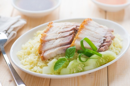 Siu Yuk or sliced Chinese boneless roast pork with crispy skin, serve with steamed rice. Hong Kong Chinese cuisine. Stock Photo - 21374007