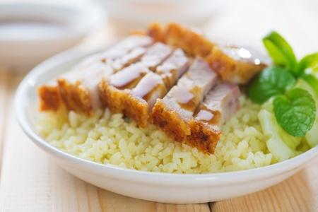 malaysia culture: Siu Yuk - Chinese crispy roasted belly pork rice. Hong Kong cuisine.