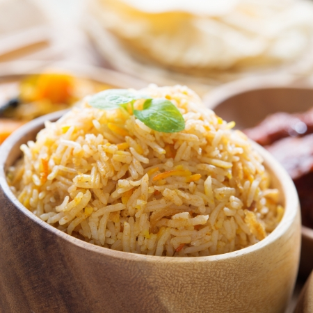 Indian food biryani rice or briyani rice, fresh cooked, indian dish. photo