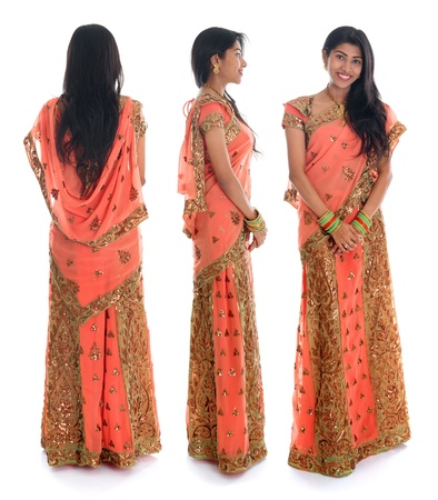 indian saree: Full body traditional Indian woman in sari costume different angle front, side and rear view standing isolated on white background.