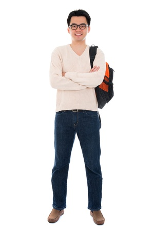 korean man: Confident full body Asian adult student in casual wear with school bag standing isolated on white background. Asian male model. Stock Photo