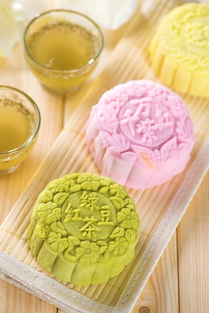 Snowy skin mooncakes.  Traditional Chinese mid autumn festival food.  photo