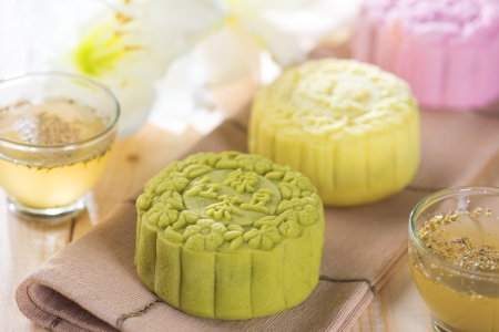 Traditional Chinese mid autumn festival food. Snowy skin mooncakes.  photo