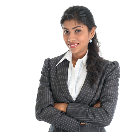 beautiful indian girl face: Portrait of beautiful African American businesswoman in business suit, isolated over white background. Mixed race Asian Indian and African American model.