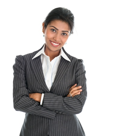 indian professional: Portrait of young African American businesswoman in business suit, isolated over white background. Mixed race Asian Indian and African American model.