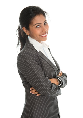 woman boss: Portrait of pretty African American businesswoman in business suit, isolated over white background. Mixed race Asian Indian and African American model.