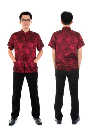 tang: Full body front and back view Asian man with Chinese traditional cheongsam or tang suit. Chinese New Year concept. Male model isolated on white background.