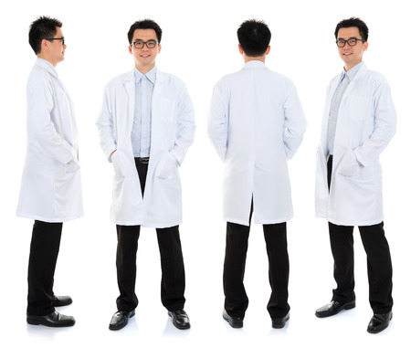 Full body Asian male beauty therapist in beautician uniform with confident smile, standing in different angle, front, back and side, isolated on white background. Stock Photo