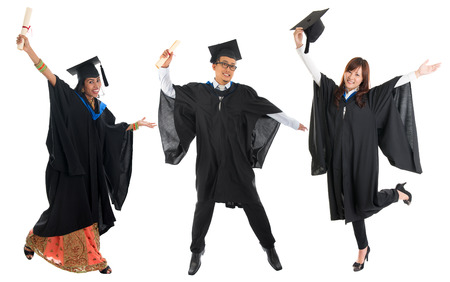 malay boy: Full body group of multi races university student in graduation gown jumping isolated on white background