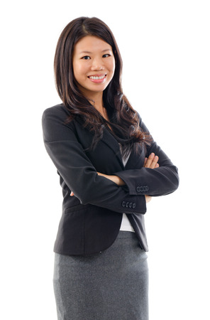 indonesian woman: Arms crossed Asian Educational or Business woman on white background Stock Photo