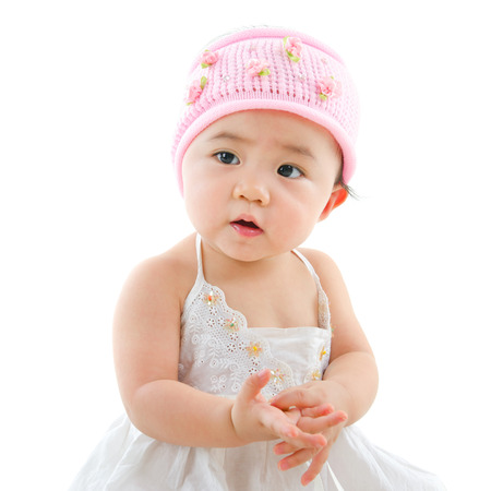 pan asian: Portrait of cute Asian baby girl, isolated on white background