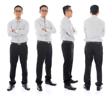 full: Brazos cruzados cuerpo completo de negocios asi�tico en un �ngulo diferente, frontal, lateral y trasera. De pie sobre fondo blanco. Modelo masculino asi�tico.