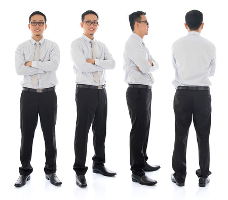 front side: Full body arms folded Asian businessman in different angle, front, side and rear view. Standing isolated on white background. Asian male model.