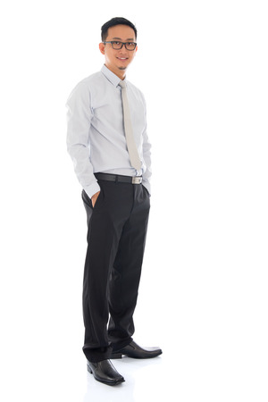 Full body Asian business man standing isolated on white background. Asian male model. photo
