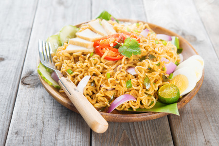 mie noodles: Spicy fried curry instant noodles or Malaysian style maggi goreng mamak