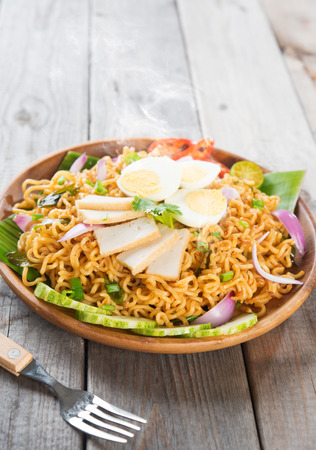 Spicy dried curry instant noodles photo