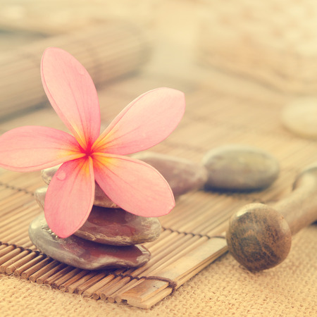Tropical spa with Frangipani flowers in retro style Stock Photo - 27147989