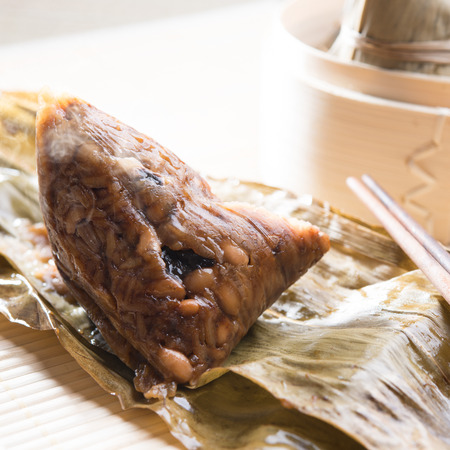 Unwrapped rice dumpling or zongzi. Traditional steamed sticky glutinous rice dumplings. Chinese food dim sum. Asian cuisine. photo