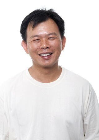 Portrait of 40s Asian middle aged male smiling, isolated on white .