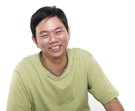 Portrait of 40s Asian middle aged man smiling, isolated on white . photo