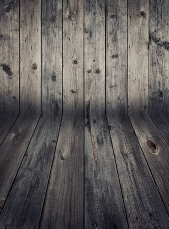 Wooden wall and flooring. Weathered wood. photo