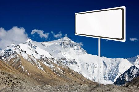 everest: Blank billboard on mountain everest.