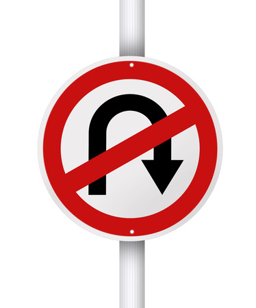 turn sign: No u turn red circle traffic street sign post isolated on white background. Stock Photo