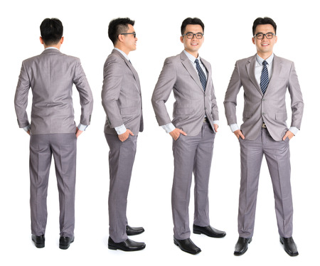 Full body Asian businessman in different angle, front, side and rear view. Standing isolated on white background. Asian male model. Stock Photo