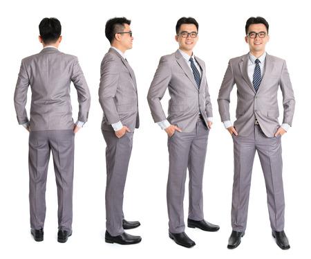 Ganzkörper-asiatischer Geschäftsmann in anderen Blickwinkel, Front-, Seiten- und Heckansicht. Stehend auf weißem Hintergrund. Asian male model. Standard-Bild - 31201461