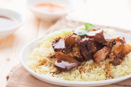 cha: Char Siu Rice - Chinese sticky pork spare ribs roasted with a sweet and savory sauce served with boiled rice. Barbecued pork Char Siu Rice Malaysia cuisine. Fresh cooked with hot steam and smoke.