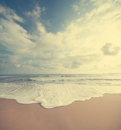 Retro vintage style summer beach sea view with wave, Malaysia Stock Photo