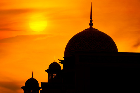 arabic architecture: Mosque in a sunset