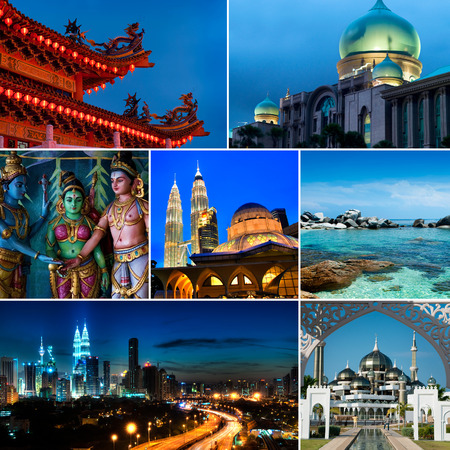 malaysian people: Collage of Malaysia images, Mosques, Chinese temple, Indian temple, landmark and nature. All picture belongs to me. Stock Photo
