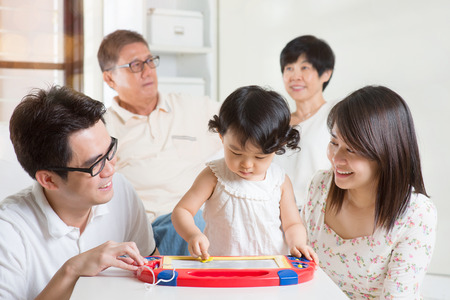multi family house: Happy family portrait. Asian multi generations having fun at home.