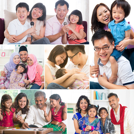 Collage photo of mixed race family having fun indoors living lifestyle. All photos belong to me.