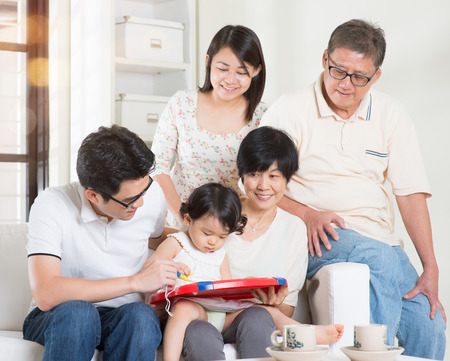 multi family house: Asian multi generations lifestyle at home. Happy family portrait.