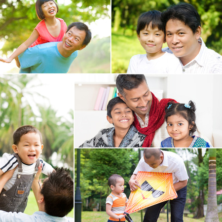 Collage photo fathers day concept. Mixed race family having fun at indoor and outdoor park. All photos belong to me. photo