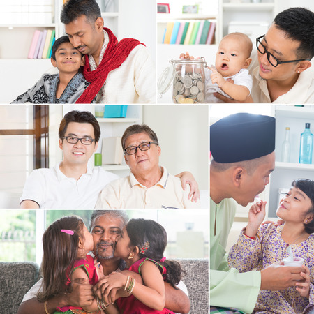 ni�os chinos: Collage concepto del d�a de padres de fotos. Generaciones familia de raza mixta que se divierte el estilo de vida en el interior que vive. Todas las fotos pertenecen a m�. Foto de archivo