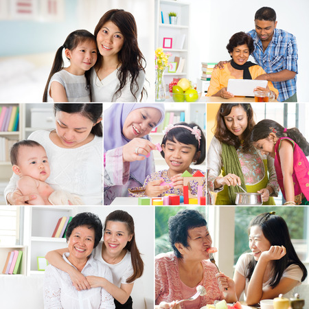 Collage photo mothers day concept. Mixed race family generations having fun indoors living lifestyle. All photos belong to me. photo