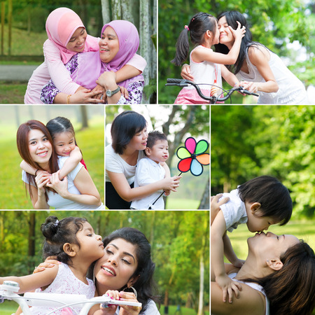 muslims: Collage photo mothers day concept. Mixed race family generations having fun at outdoor park. All photos belong to me.