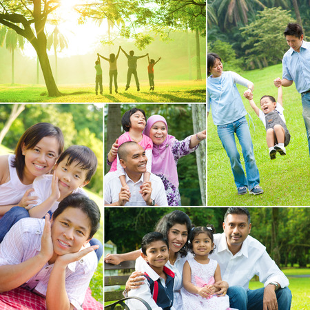 indian happy family: Collage photo of mixed race family having fun at outdoor park. All photos belong to me. Stock Photo