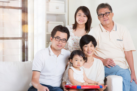 multi generation: Happy family portrait. Asian multi generations lifestyle at home. Stock Photo