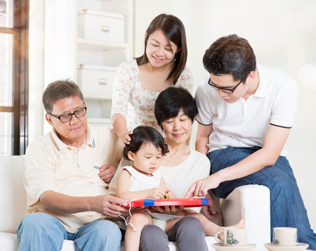 multi family house: Asian multi generations having fun at home. Happy family portrait.