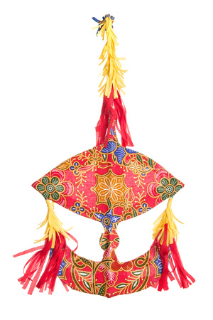 kite: Malaysian traditional moon kite or Wau isolated on white .