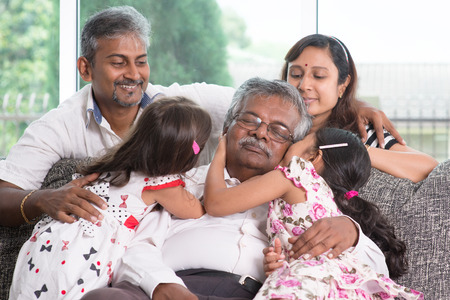 india: Portrait of multi generations Indian family at home. Asian people living lifestyle.