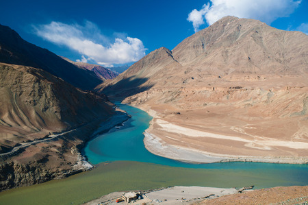 ladakh: Confluence of Zanskar and Indus rivers - Leh, Ladakh, India