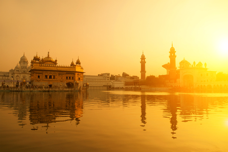 monument in india: Sunrise at Golden Temple in Amritsar, Punjab, India.
