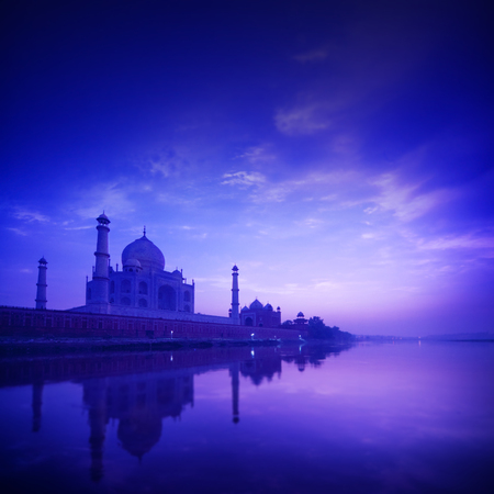 taj: Taj Mahal in Agra, India in sunset, yamuna river view.