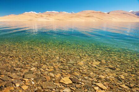 wetland conservation: Himalayan mountain lake in Himalayas Tso Moriri, Tsomoriri Wetland Conservation Reserve, Korzok  Changthang area, Ladakh, Jammu and Kashmir, India.